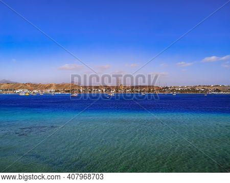 Sea Panorama Of Sharm El-maya Bay In Sharm El Sheikh (egypt). Beautiful Exotic Seascape With Copy Sp