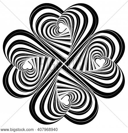 Striped Hearts Complicated Swirl Rotation Illusion Background. Abstract Striped Distortion Twisted B