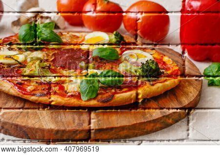 Homemade Pizza With Salami, Cheese, Egg And Vegetables Garnished With Basil,imitation Graffiti,mural
