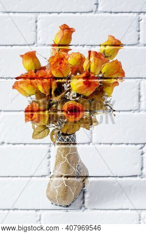 Roses, Colorful Artificial Flowers In A Decorative Vase On A Light Background,imitation Graffiti,mur