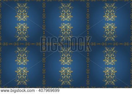 Golden Pattern On Neutral And Blue Colors With Golden Elements. Traditional Orient Ornament. Seamles