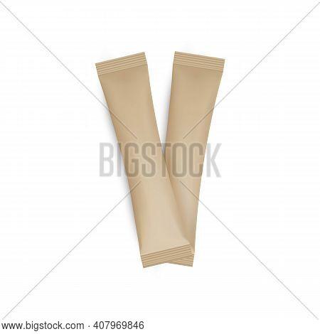 Kraft Sachet Mockups Isolated On White Background. Vector Illustration