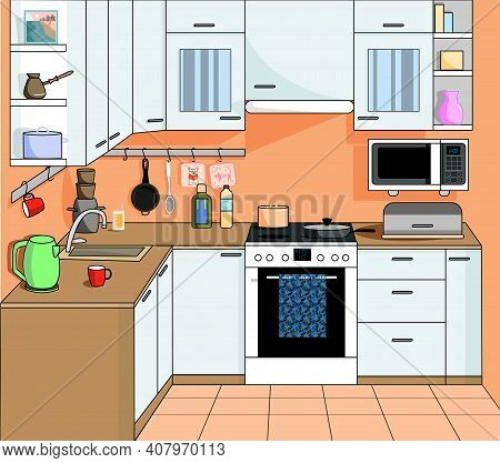 Flat Room Vector Illustration. Indoor Kitchen Interior With Stove, Cupboard, Dishes And Other Kitche