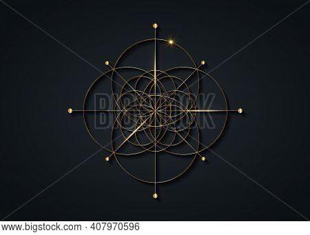 Gold Sacred Geometry, Seed Of Life Symbol. Logo Icon Geometric Mystic Mandala Of Alchemy Esoteric Fl