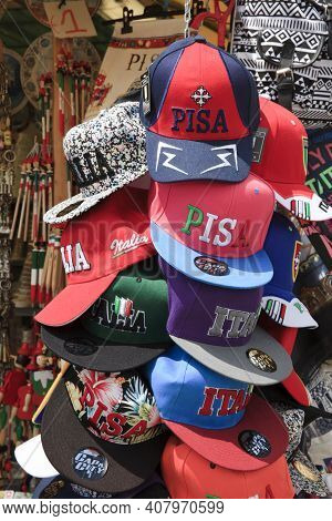 Pisa (pi), Italy - June 10, 2017: Hats In A Souvenir's Shop, Pisa, Tuscany, Italy, Europe