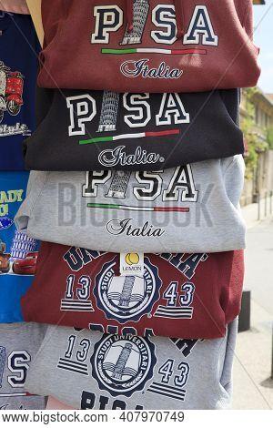 Pisa (pi), Italy - June 10, 2017: T-shirt In A Souvenir's Shop, Pisa, Tuscany, Italy, Europe