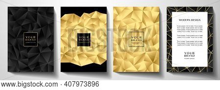 Modern Premium Black And Gold Cover Design Set. Luxury Polygon Pattern (triangle Texture) Background