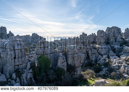 View Of The El Torcal Nature Reserve In Andalusia With Ist Strange Karst Rock Formations