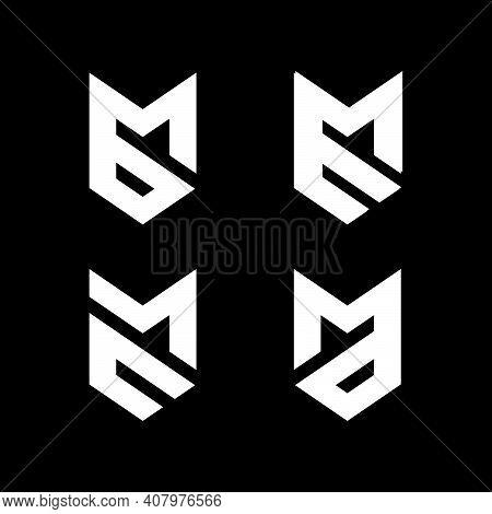 Initial Letter Mb, Bm, Me, Em, Mc, Cm, Ma, Md Logo Set Template With Sporty Geometric Fox Head Or Ar