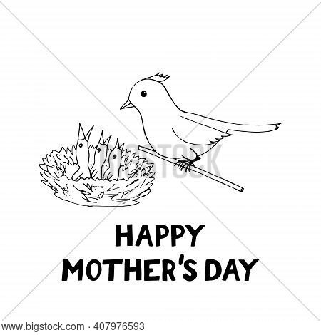 Happy Mothers Day Card Template Bird Mom And Chicks In The Nest Icon, Sticker. Sketch Hand Drawn Doo