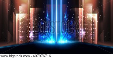 Background Of Empty Stage Show. Neon Light And Laser Show. Laser Futuristic Shapes On A Dark Backgro