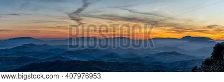 Panorama Sunset In The Mountains Of Malaga In Southern Spain