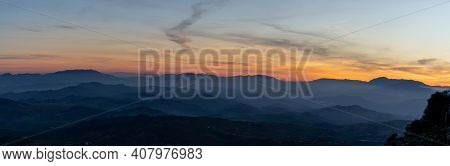 Sunset In The Mountains Of Malaga In Southern Spain