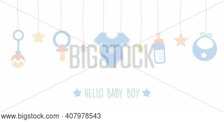 Baby Boy Welcome Greeting Card For Childbirth With Hanging Utensils Vector Illustration Eps10