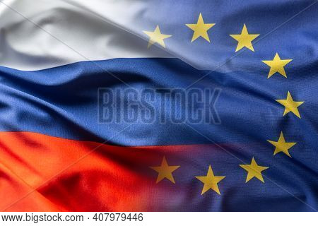 Russia And Eu Flag Blowing In The Wind.