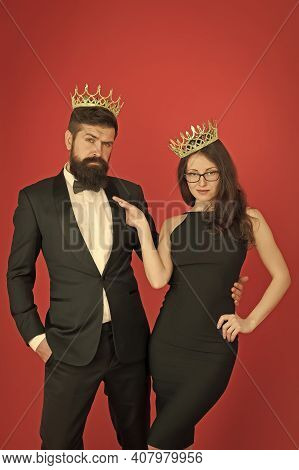 Vice Of Luxury. Beauty Queen And Big Boss Enjoy Luxury. Business Couple Wear Luxury Crowns. Rich Man
