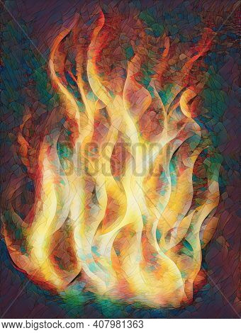 Painting Fire On Black Background, Airbrush Painting. Painting On Wood.