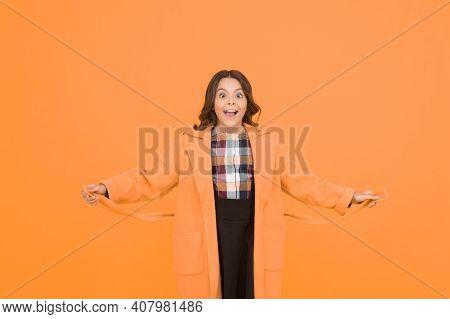 Charismatic Girl On Yellow Background. Elegant Little Schoolgirl. Fashionable Schoolgirl. Trendy Tre