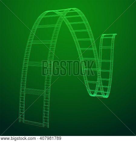 Cinema Film Strip. Film Frame. Old Retro Cinema Strip. Wireframe Low Poly Mesh Vector Illustration.