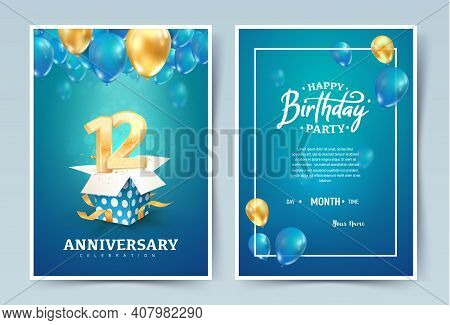 12th Years Birthday Vector Invitation Double Card. Twelve Years Anniversary Celebration Brochure. Te
