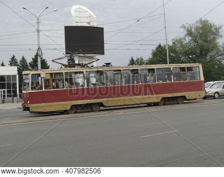 Kazakhstan, Ust-kamenogorsk, July 3, 2020: Old Soviet Tram Ktm 5 (71-605). Public Transport. Vintage