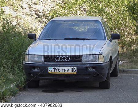 Kazakhstan, Ust-kamenogorsk, July 19, 2020: Audi 80, B3 (1986-1992). Old German Car