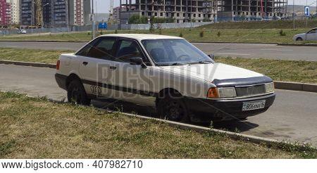 Kazakhstan, Ust-kamenogorsk, July 21, 2020: Audi 80, B3 (1986-1992). Old German Car