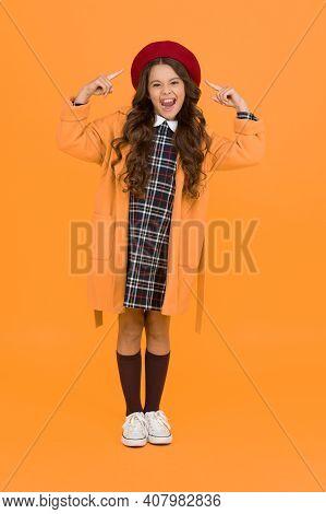 Like It. Back To School. Retro Girl Wear Uniform And Parisian Beret. Kid School Fashion. Cheerful Ch