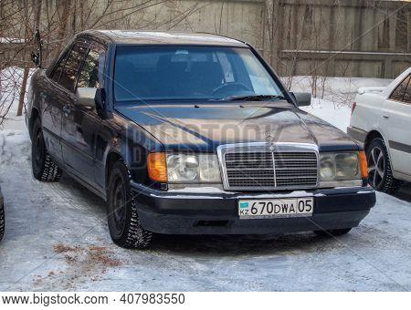 Kazakhstan, Ust-kamenogorsk, January 11, 2020: Mercedes-benz W124 E-class. Old German Car
