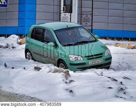 Kazakhstan, Ust-kamenogorsk, January 16, 2020: Hyundai Getz. Winter Snow. Grunge