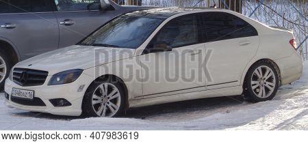 Kazakhstan, Ust-kamenogorsk, January 24, 2020: Mercedes-benz W204 C-class. C63 Amg