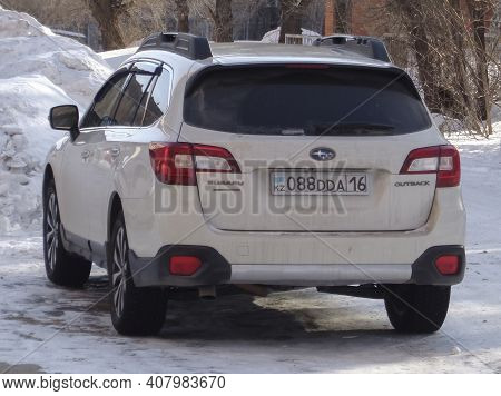 Kazakhstan, Ust-kamenogorsk, January 24, 2020: Subaru Outback. White Car
