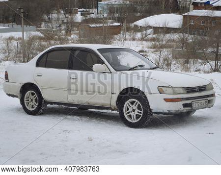 Kazakhstan, Ust-kamenogorsk, January 28, 2020: Toyota Carina. Winter Snow. Old Toyota