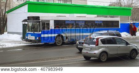 Kazakhstan, Ust-kamenogorsk, February 6, 2020: Volvo B10m Mk 3 / Wiima K202. Old City Bus. Volvo Bus