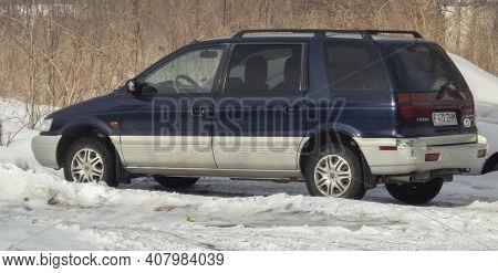 Kazakhstan, Ust-kamenogorsk, February 6, 2020: Mitsubishi Space Wagon. Also Called: Mitsubishi Nimbu