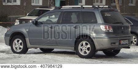 Kazakhstan, Ust-kamenogorsk, February 6, 2020: Mitsubishi Outlander (first Generation). Compact Cros