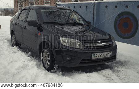 Kazakhstan, Ust-kamenogorsk, February 7, 2020: Lada Granta. Russian Car