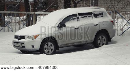Kazakhstan, Ust-kamenogorsk,  February 7, 2020: Toyota Rav4 (ca30w). Winter Snow