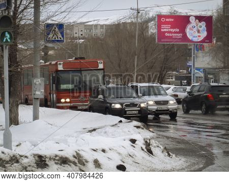 Kazakhstan, Ust-kamenogorsk, February 8, 2020: Traffic On One Of The Streets Of The City. Public Tra