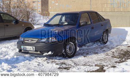 Kazakhstan, Ust-kamenogorsk, February 20, 2020: Daewoo Nexia. Blue Car
