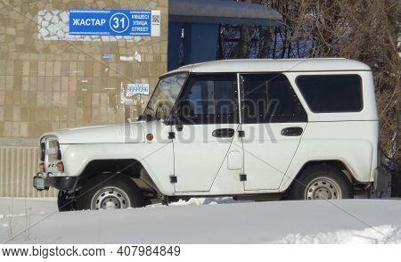 Kazakhstan, Ust-kamenogorsk, February 20, 2020: Uaz Hunter (uaz 315195). White Russian Suv
