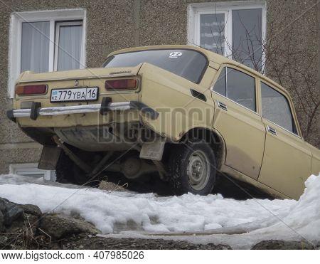 Kazakhstan, Ust-kamenogorsk,  March 3, 2020: Moskvitch 2140. Old Soviet Car. Retro Car. Oldtimer