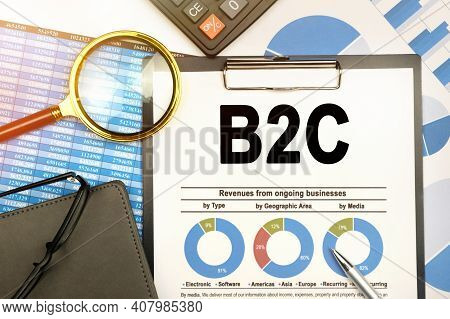 Business And Finance Concept. On The Table Are Charts With Reports, A Notebook, A Magnifying Glass A