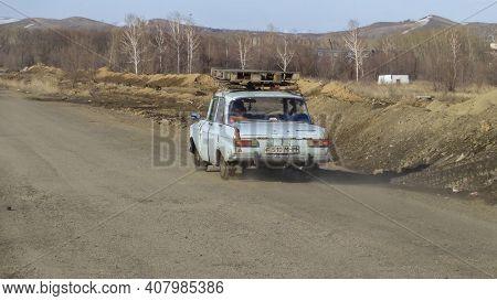 Kazakhstan, Ust-kamenogorsk, March 27, 2020: Blue Moskvitch 412. Old Soviet Car. City Street
