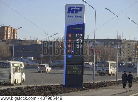 Kazakhstan, Ust-kamenogorsk, March 27, 2020: Scoreboard For Fuel Prices. Royal Petrol Gas Station