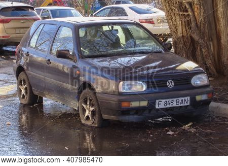Kazakhstan, Ust-kamenogorsk, March 27, 2020: Volkswagen Golf Iii. Abandoned Car