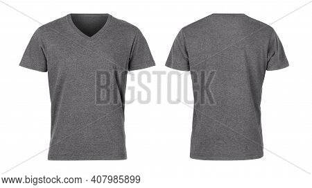 Realistic Grey Unisex T Shirt Front And Back Mockup Isolated On White Background With Clipping Path.