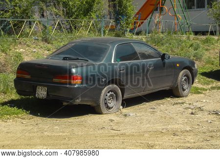 Kazakhstan, Ust-kamenogorsk, May 2, 2020: Old Black Toyota. Old Used Car