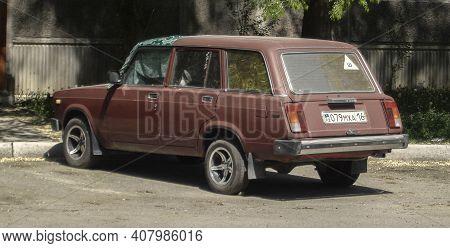 Kazakhstan, Ust-kamenogorsk, May 2, 2020: Car Vaz 2104 In The Parking. Vintage Retro Car
