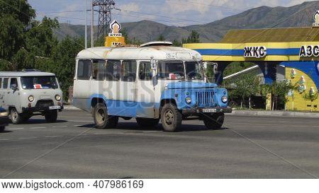 Kazakhstan, Ust-kamenogorsk, July 4, 2020: Old Soviet Bus Kavz 3270